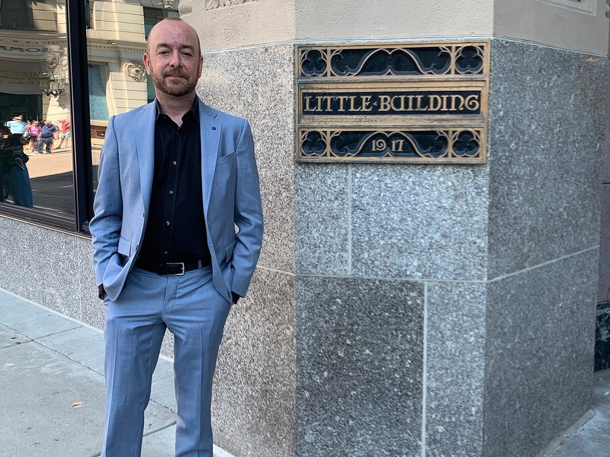 Ross Cameron in front of Little Building