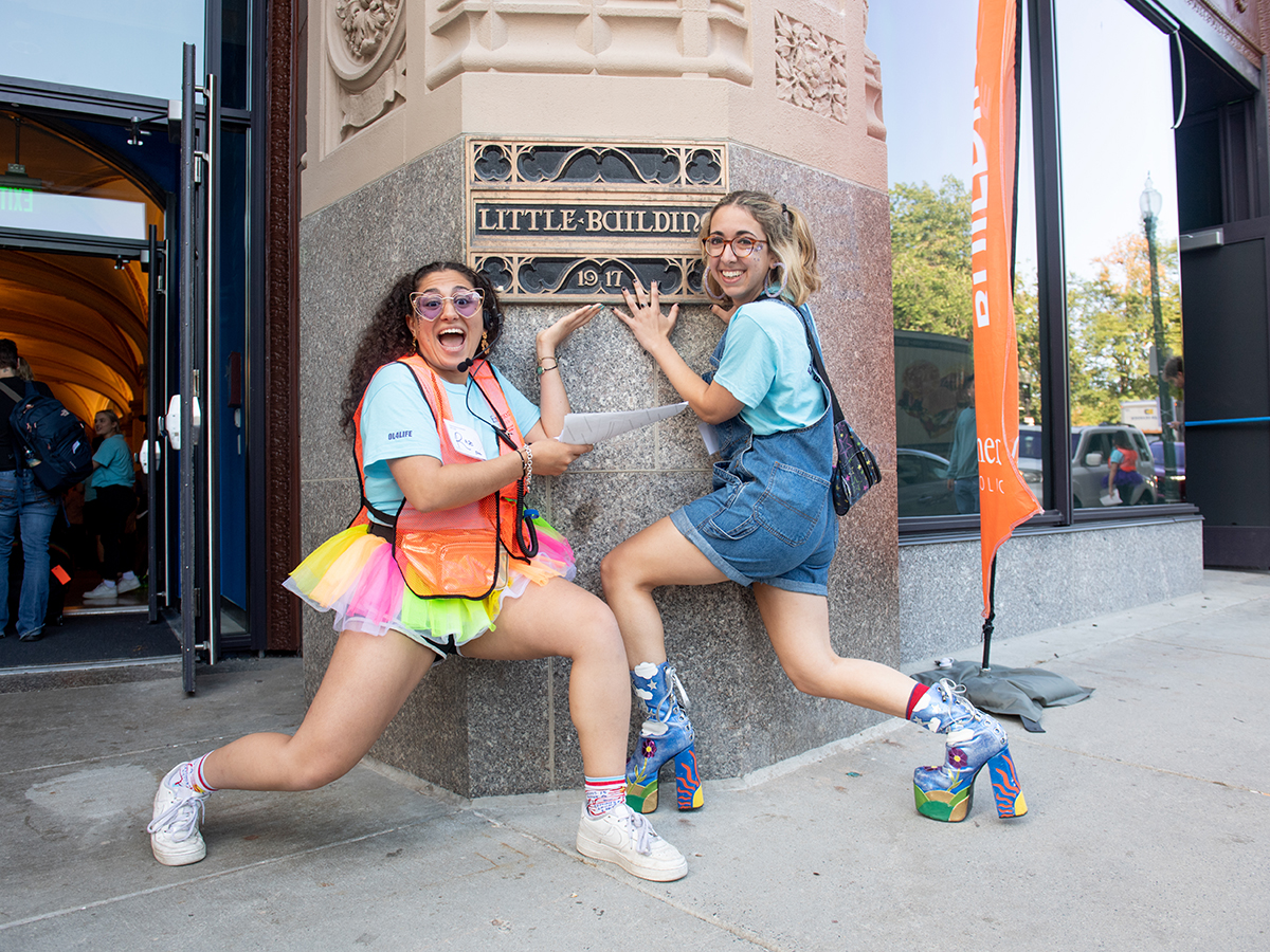 Two students outside of the Little Building
