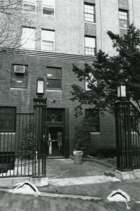The entrance on Marlborough Street back in the day. (Photo courtesy Emerson College Archives and Special Collections)
