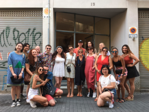 Students outside of visual artist Ferran Gimenez's studio