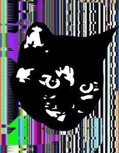 Cat head over digital static