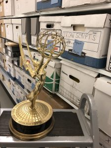 Emerson alum Richard Dysart's Emmy statuette in an archival space