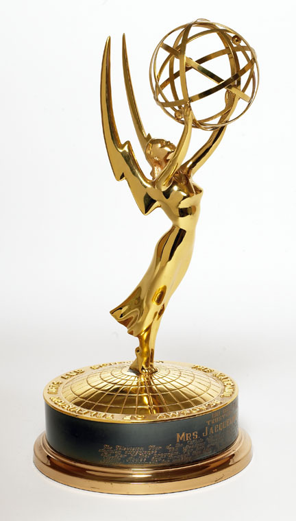 Emmy statuette, winged figure holding orb