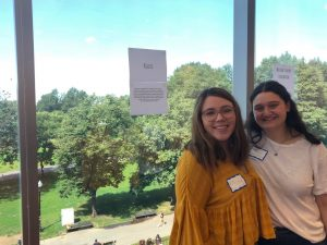 Melissa Bordelon '20, President of Hillel Emerson College, and Madison Goldberg '22 pose together