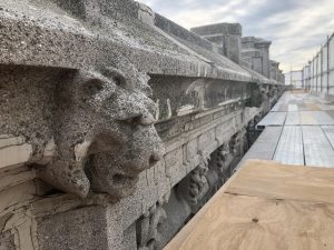 The old lion head on the Little building facade. (Photo by Elkus Manfredi Architects)