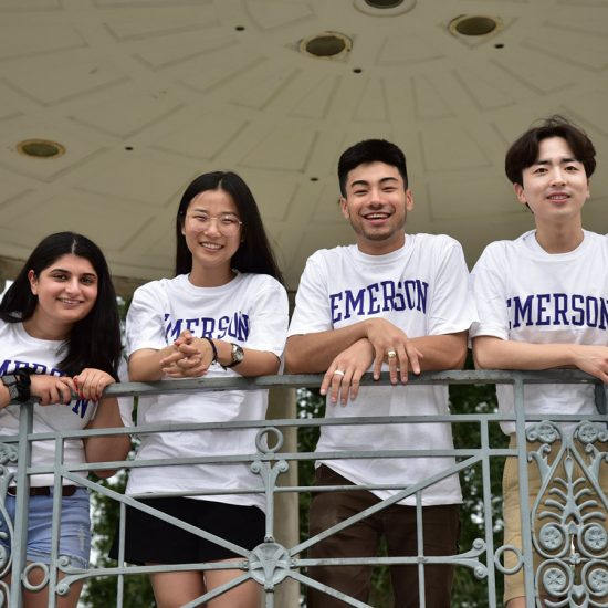 Left to right: Mary Rose Saad '21, Flora Li '22, Ryan Rinaldi '20, and Jae Suk Lee '21. The quartet mentor all first-year students as part of Emerson College's International Student Peer Mentor program.