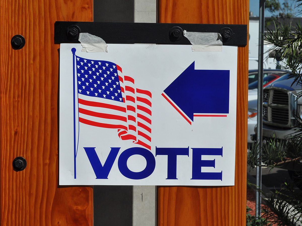 """vote"" sign"