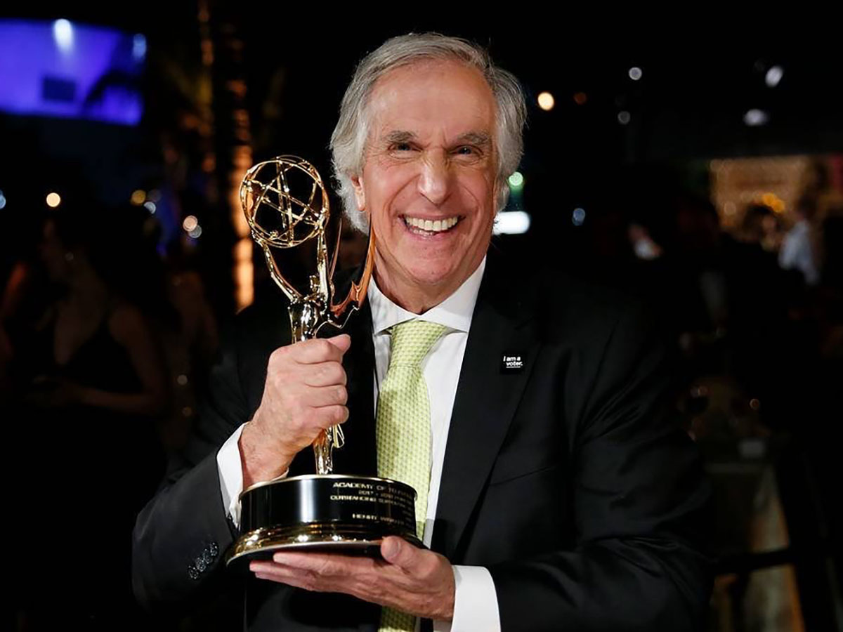 Henry Winkler '67 after winning his Emmy Award in 2018 for his role on Barry.
