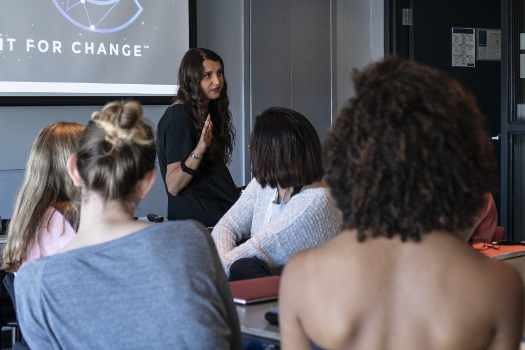 Jade Zaroff talks to students
