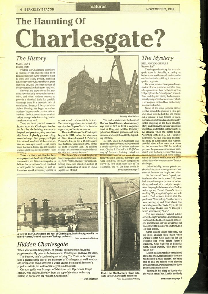 A 1989 Berkeley Beacon issue covered the haunting of the Charlesgate East dorm