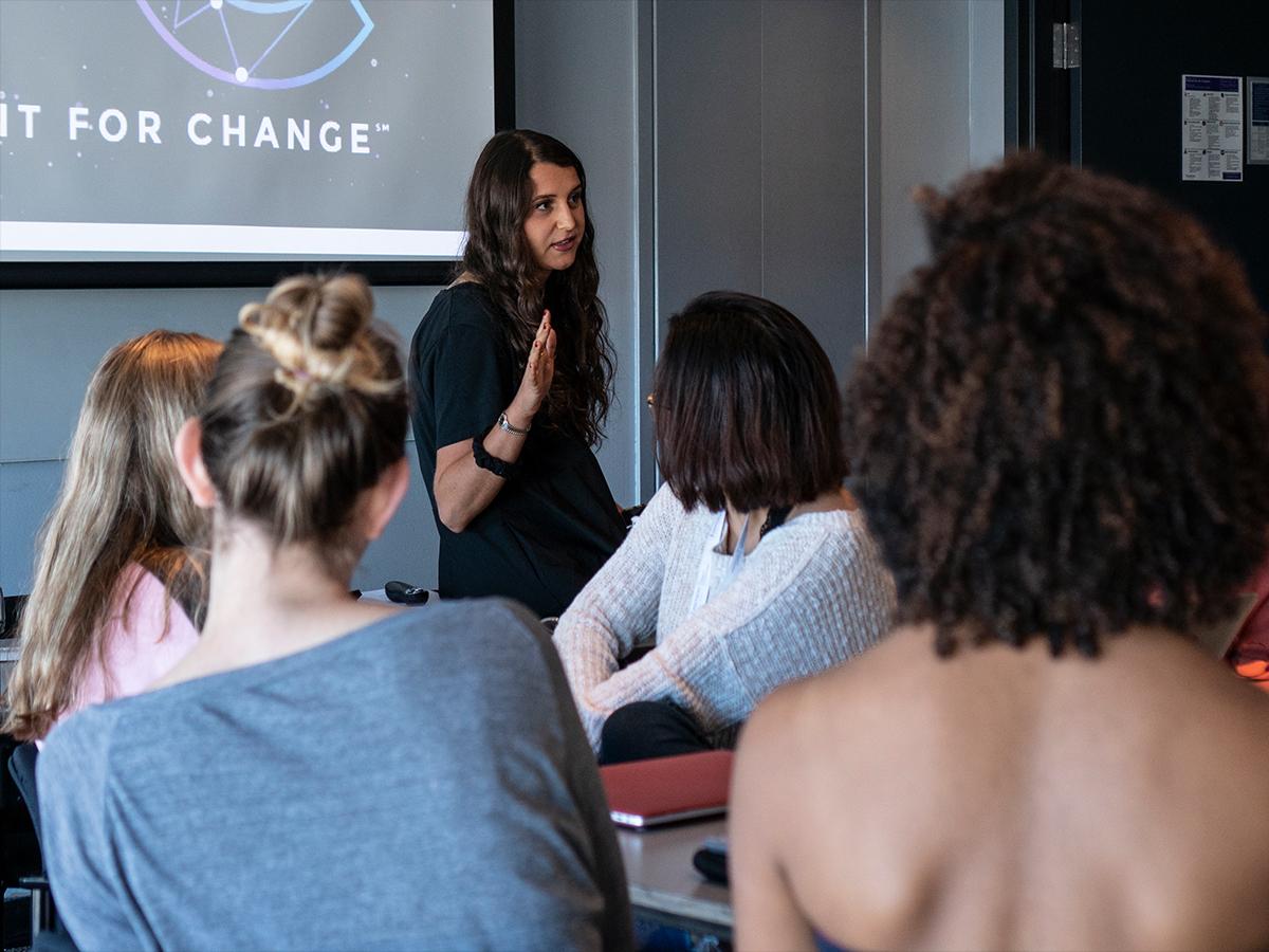 Jade Zaroff speaks to students