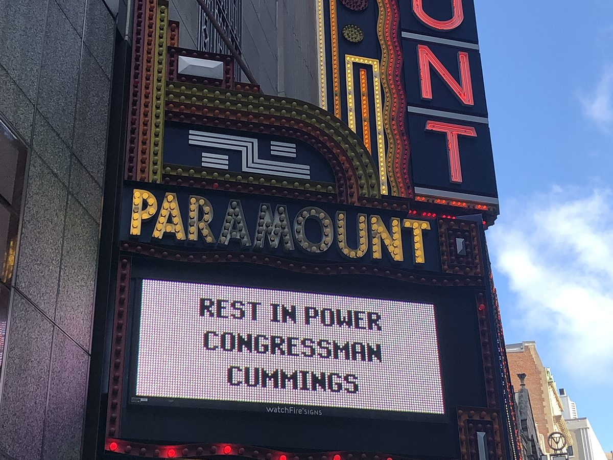 Paramount Theatre marquee with a message that says Rest in Power Congressman Cummings
