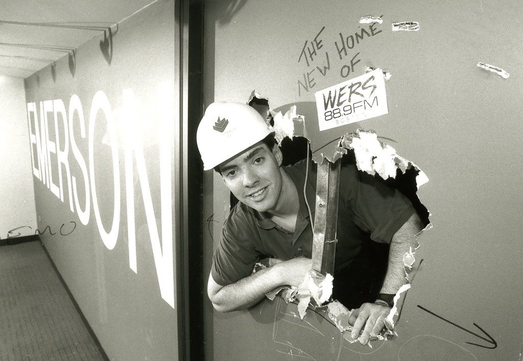 Man busts through construction wall