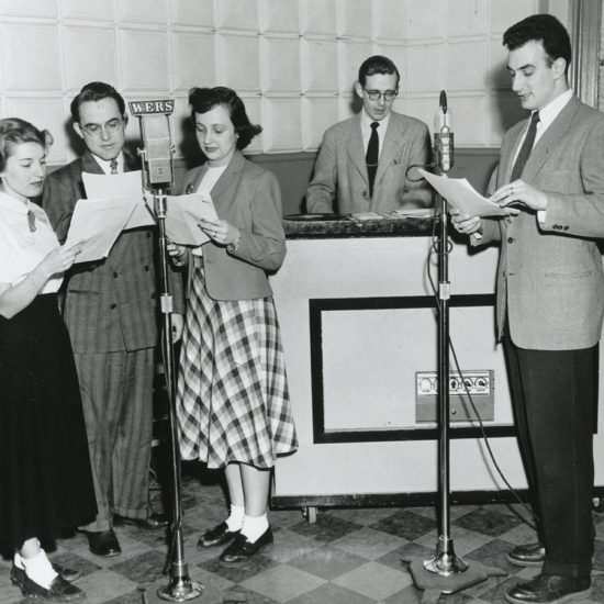 Five people participate in a WERS broadcast in 1949, the station's first year.