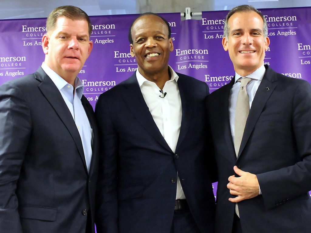 walsh, pelton, garcetti pose for photo