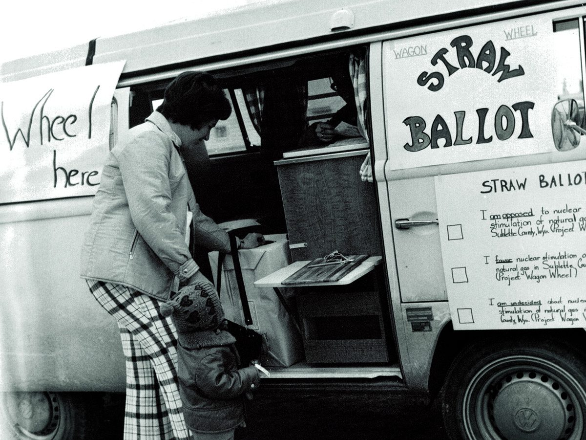 Residents used a Volkswagen van to conduct a straw poll as to whether residents supported the Wagon Wheel Project. (Photo courtesy of Gregory Asay)