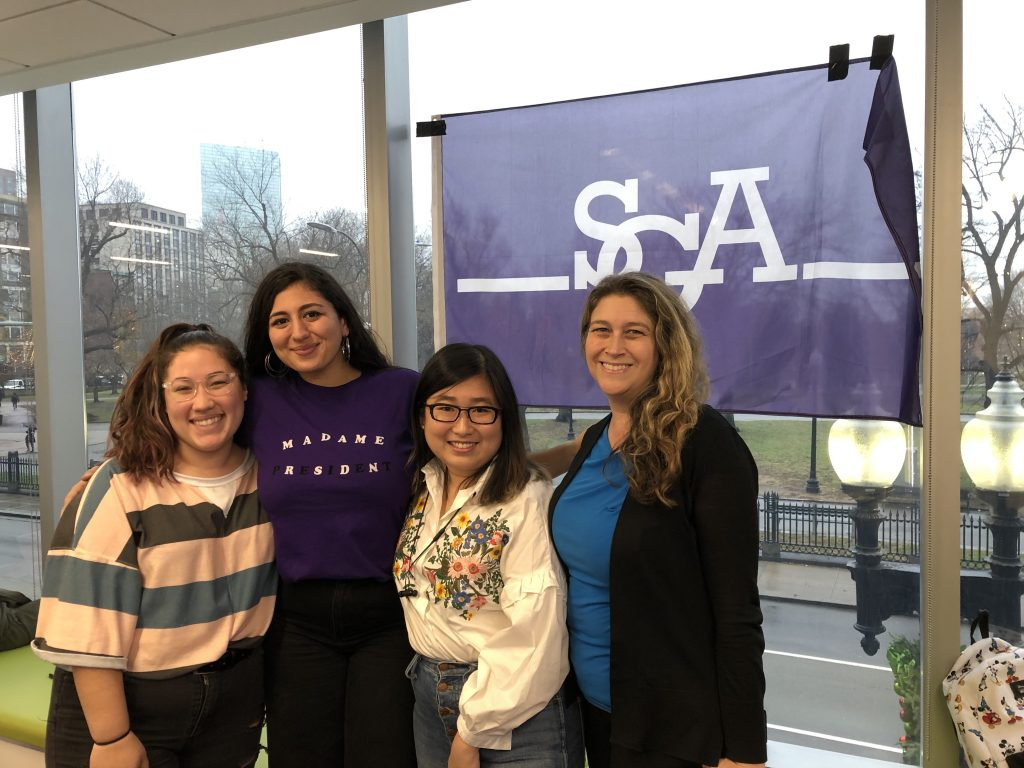 Tatiana Melendez, Raz Moayed, Ann Zhang, and Sharon Duffy, pose for a photo at SGA's last meeting for 2019.