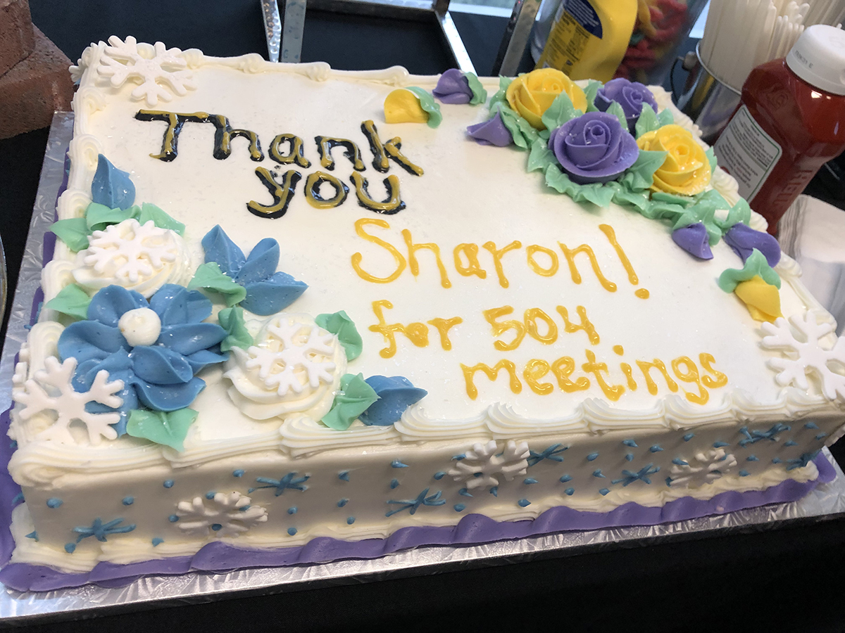 The cake presented to Sharon Duffy congratulating her on advising SGA for 19 years.