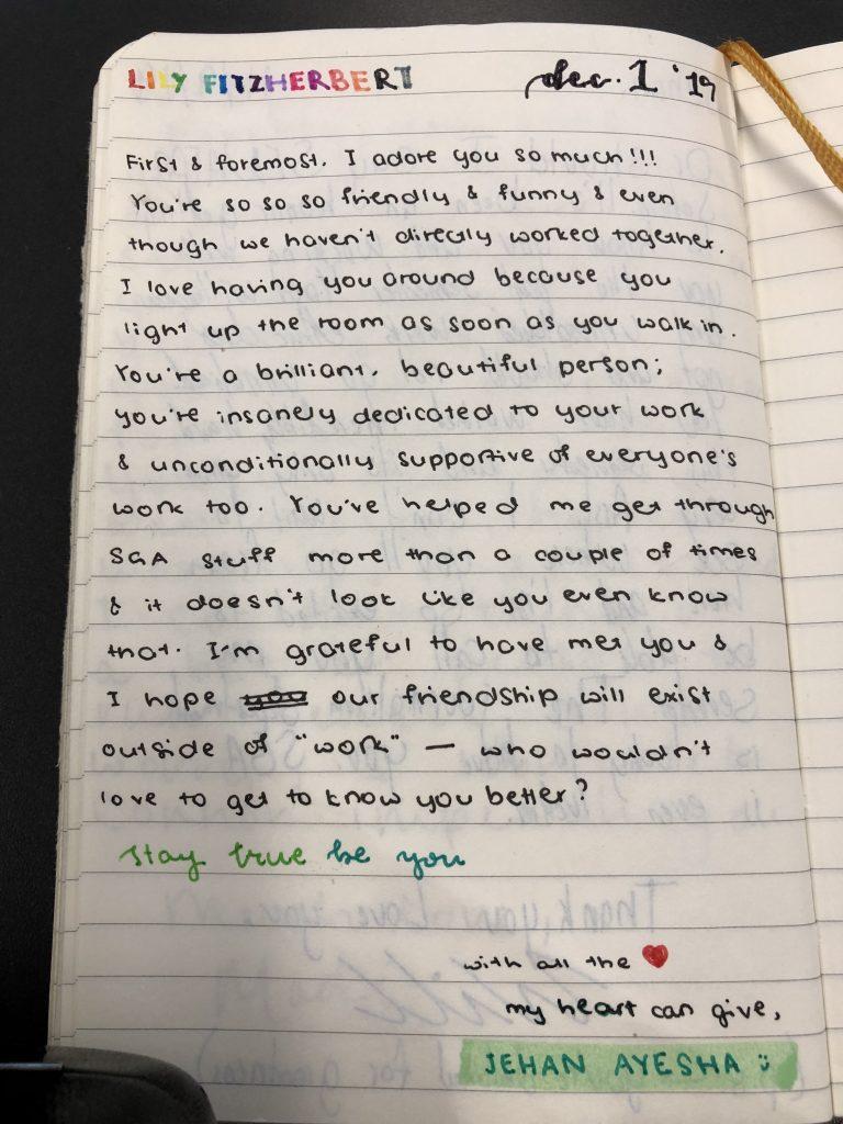 A handwritten page inside a notebook