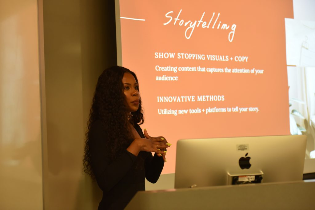 Alumna Dheandra Jack MA '17, among other Marketing Communication alumni, returned to campus last semester to share their career journeys with current Strategic Marketing Communication graduate students. [Photo/Molly Loughman]