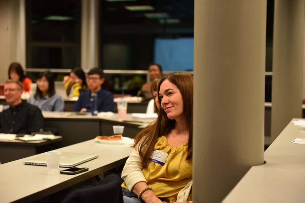 Alumna Liz Goodwin, MA'05, among other Marketing Communication alumni, returned to campus last semester to share their career journeys with current Strategic Marketing Communication graduate students. [Photo/Molly Loughman]