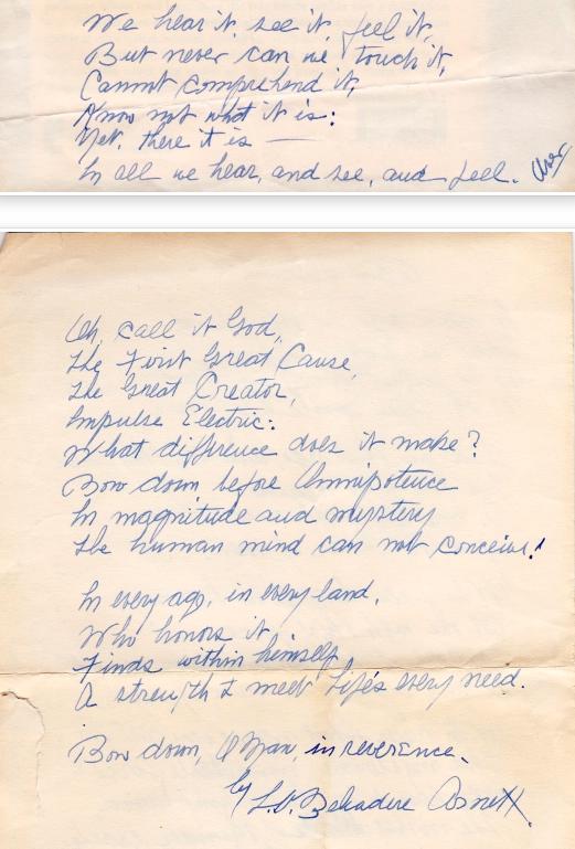 Hand written poem by Laura Vivian Belvadere Arnett