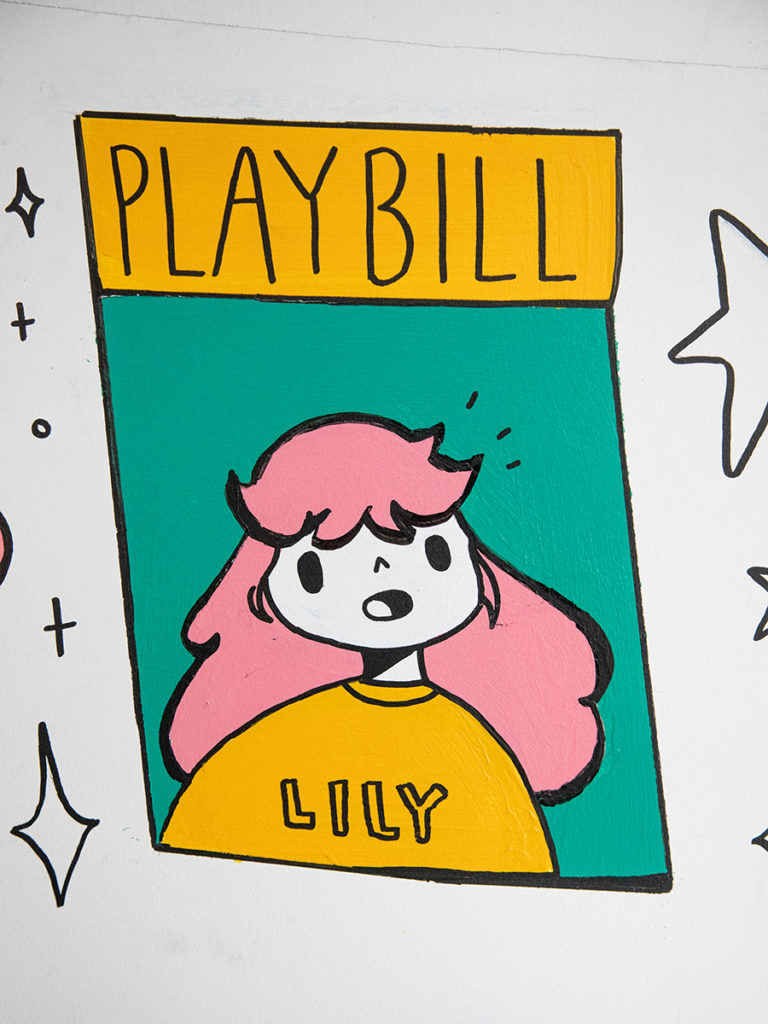 cartoon image of Lily on playbill