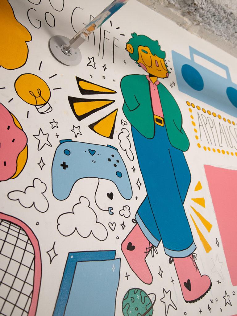 Detail of drawings on mural