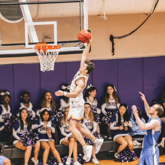 Zach Waterhouse grabs the basketball near the rim