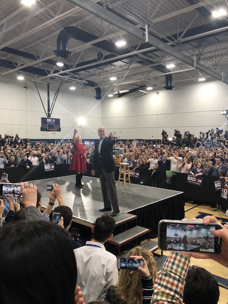 Joe Biden points at the crowd during his rally.