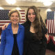 Elizabeth Warren stands next to Julia Stanton