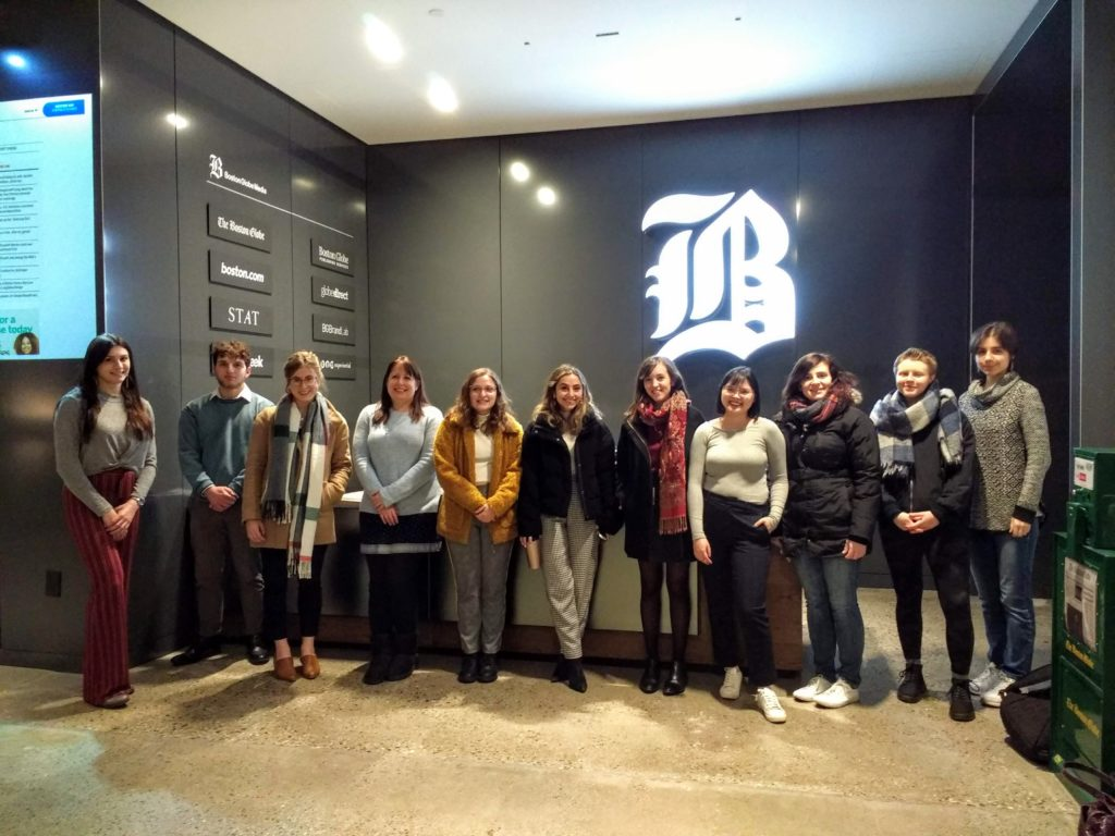 Students at The Boston Globe office