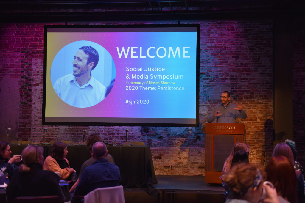 Emerson Journalism Professor Paul Mihailidis welcome attendees to the inaugural Social Justice & Media Symposium at Emerson Feb. 28.