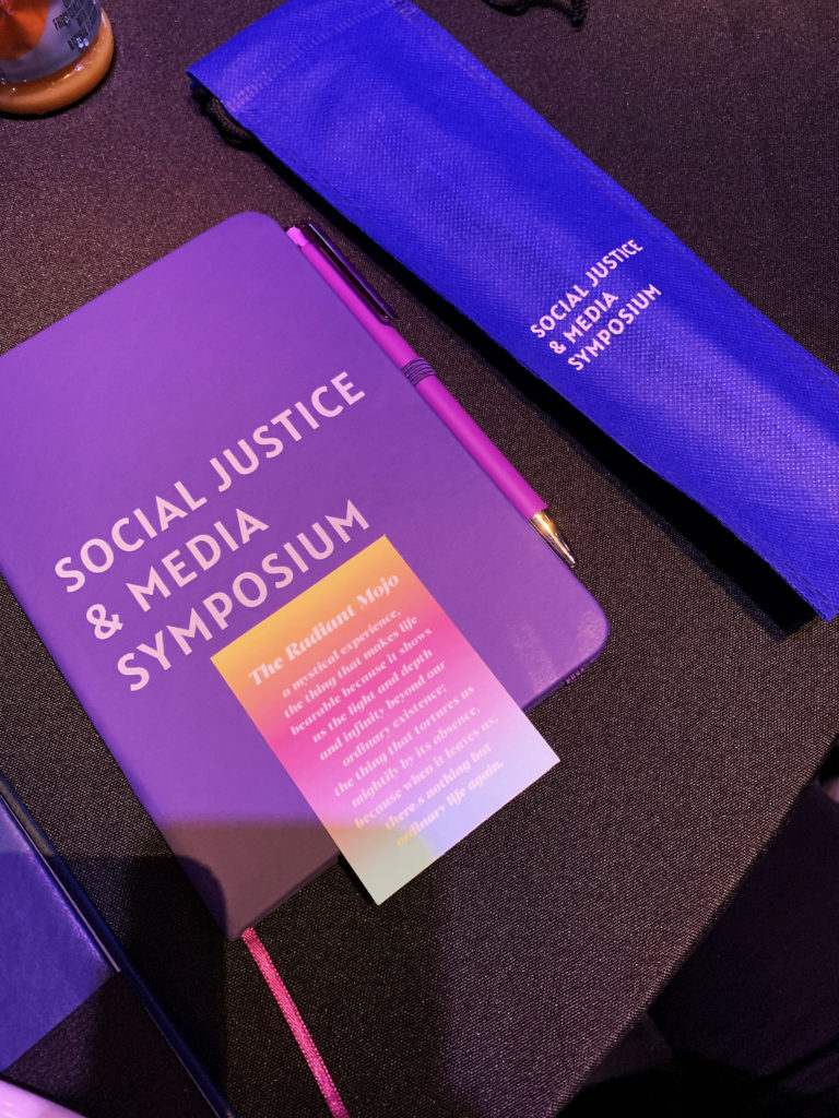 Social Justice & Media Symposium 2020 swag given out to attendees.