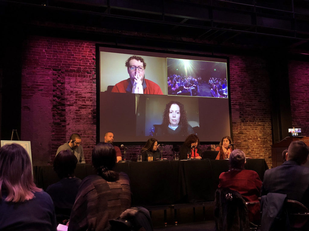 """The panel titled, """"Engaged Scholarship & Persistent Pedagogy,"""" comprised of Shumow's former colleagues from all over the country, discussed how they persist with media-based projects or community-based pedagogies against the barriers of conducting community work."""