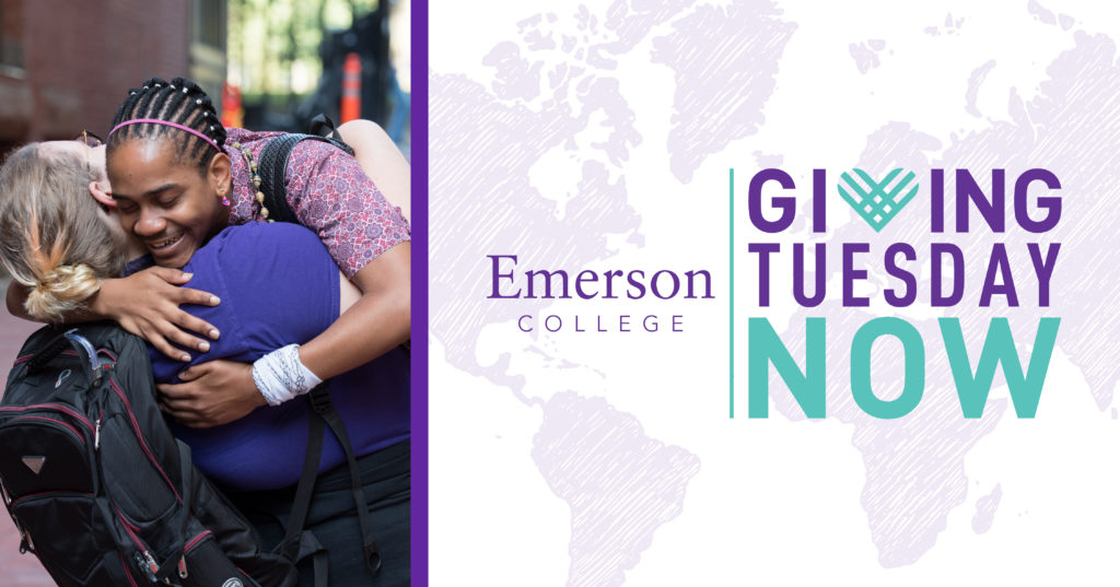 Giving Tuesday Now logo with photo of students hugging