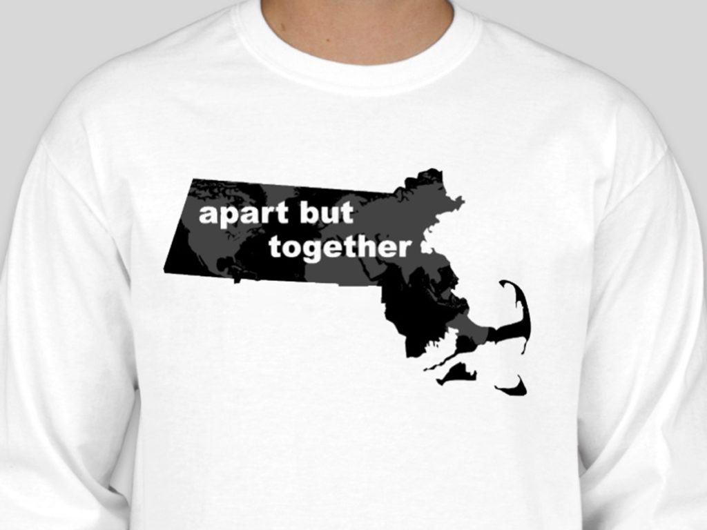t shirt with map of massachusetts on it