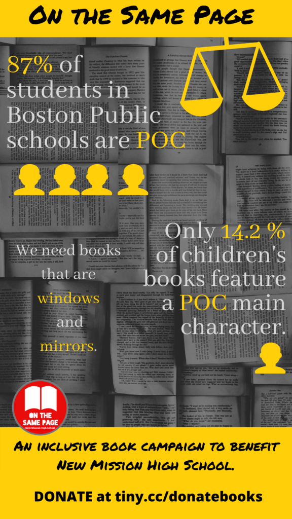 Diverse literature statistics on a flyer for the 'On the Same Page' book campaign.