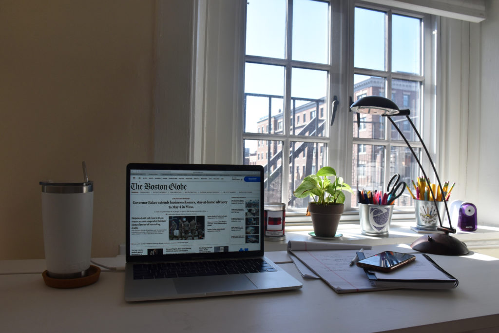 The home workspace of journalism sophomore Anissa Gardizy '22 this semester while writing for The Boston Globe under the news outlet's Co-op Program with Emerson College. [Courtesy Photo]