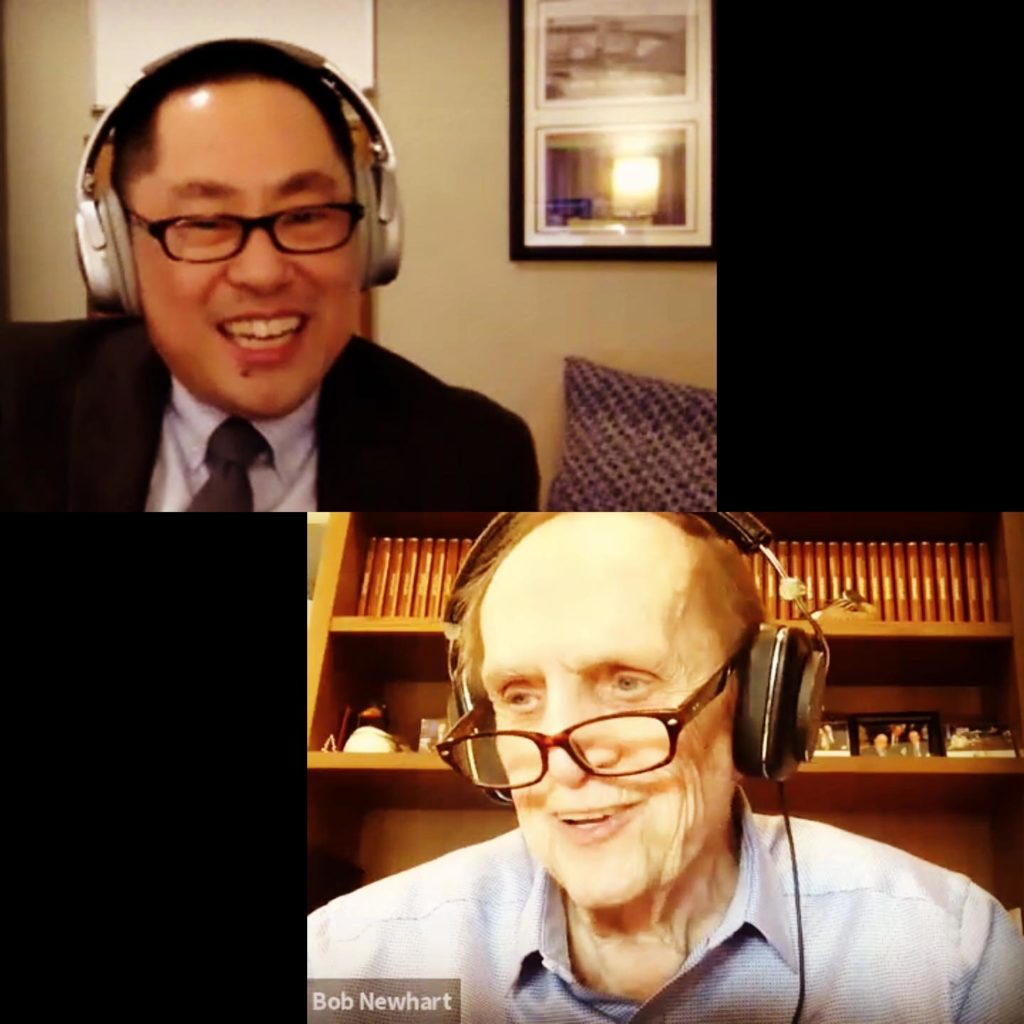 Ed Lee and Bob Newhart on Zoom screen