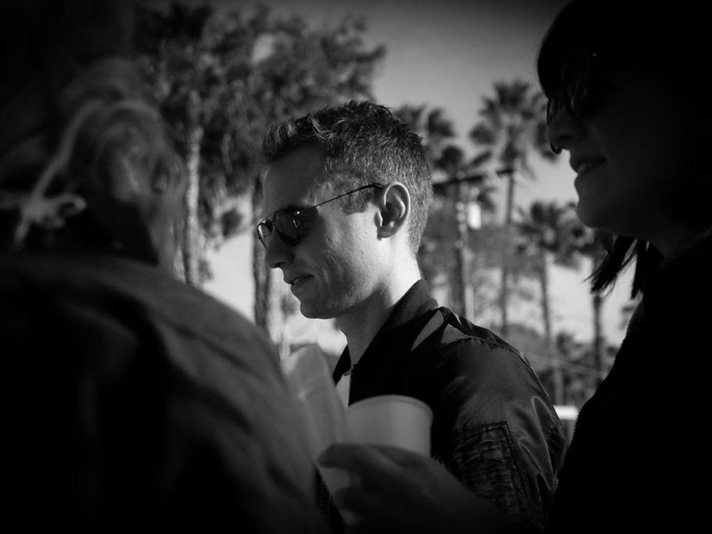 Andrew Bear in shades on set