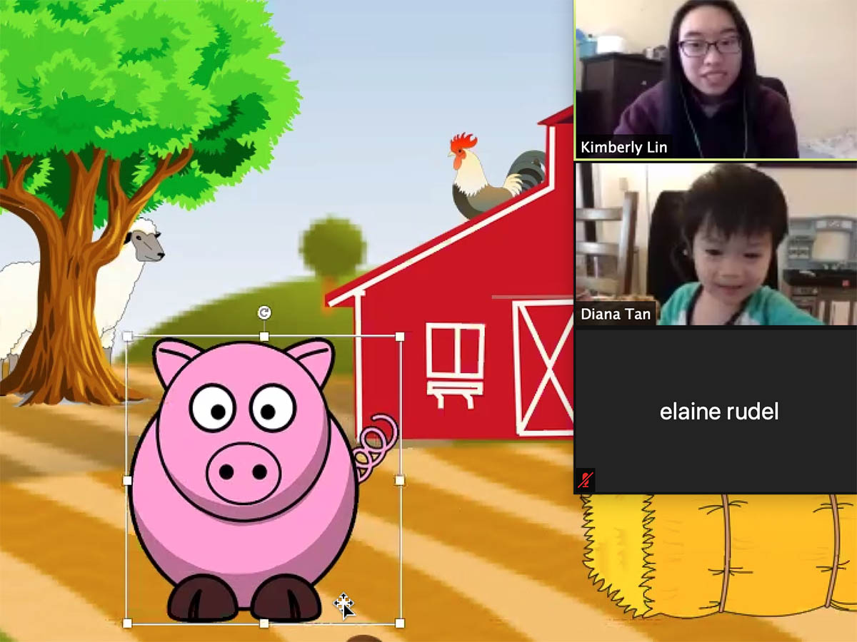 A kids computer program shows an animated pig on a farm