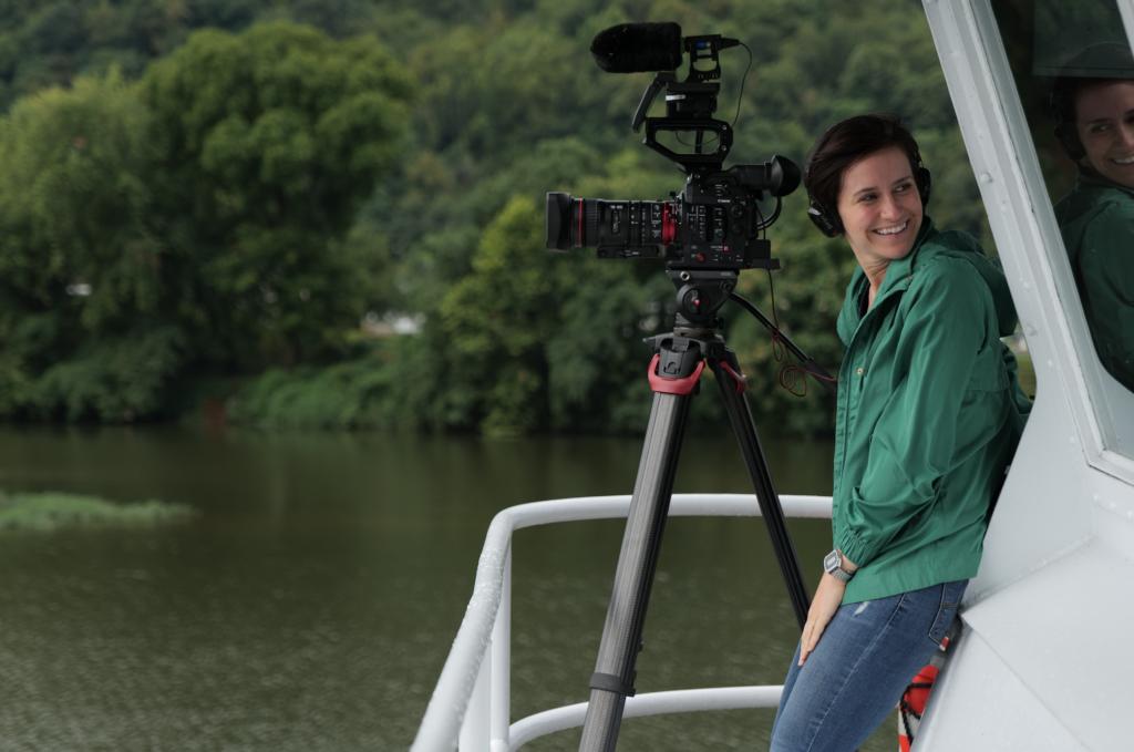 Elaine McMillion Sheldon on a boat. (Credit Curren Sheldon)