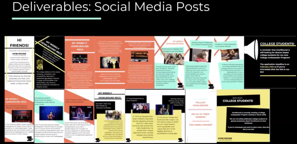 A screenshot of social media deliverables created Emerson BCE seniors this spring.