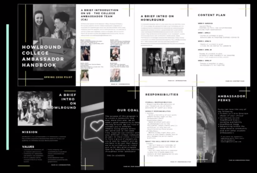 A screenshot of the HowlRound College Ambassadors Handbook deliverables created by Emerson BCE seniors this spring.