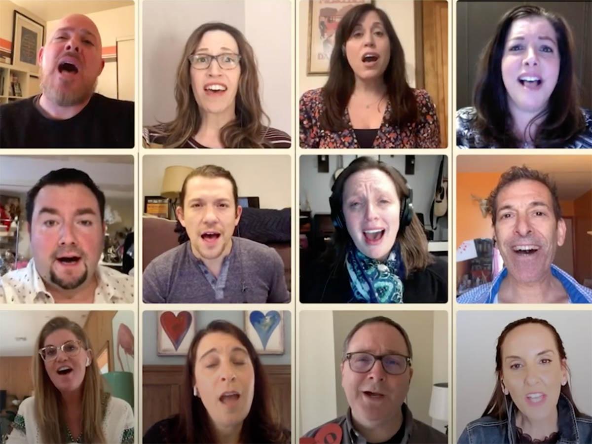 12 people singing in individual Zoom screens