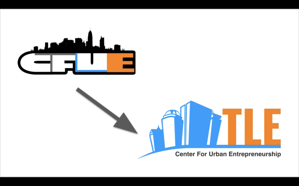 The logo redesign by BCE seniors for the Center for Urban Entrepreneurship.