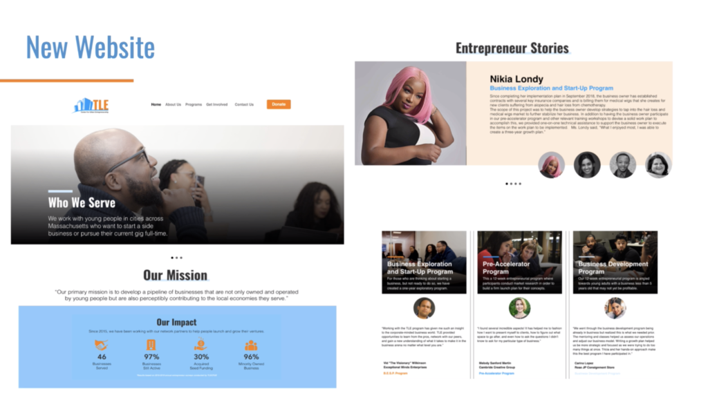 A screenshot of the new website designed by Emerson BCE Senior Residency students this spring for one of their six business clients, TLE Center for Urban Entrepreneurship.