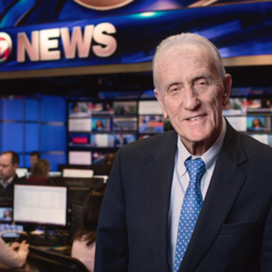 Ed Ansin in Channel 7 newsroom