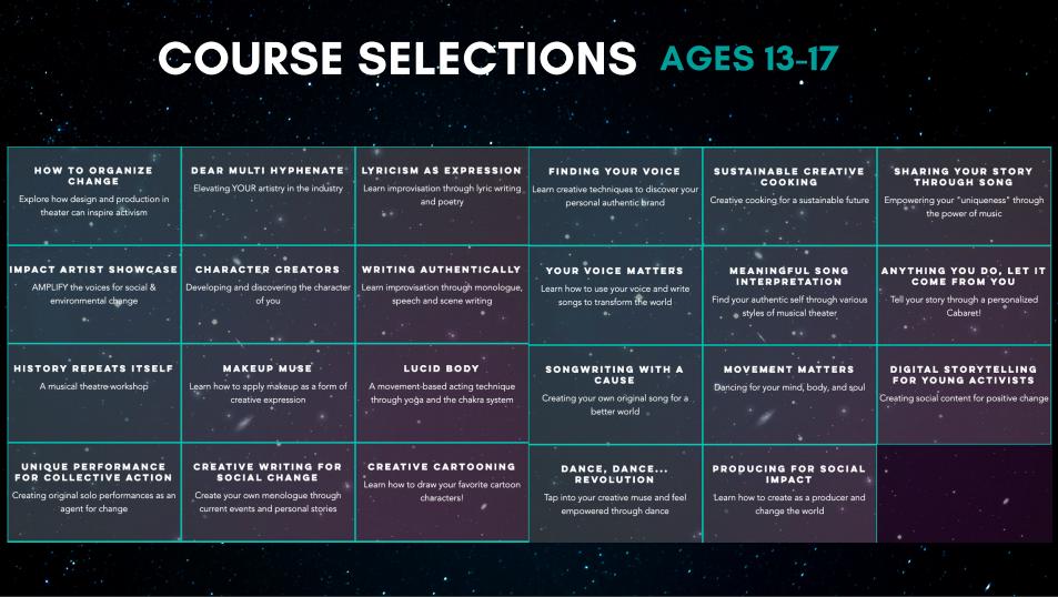 A list of EFC Summer courses
